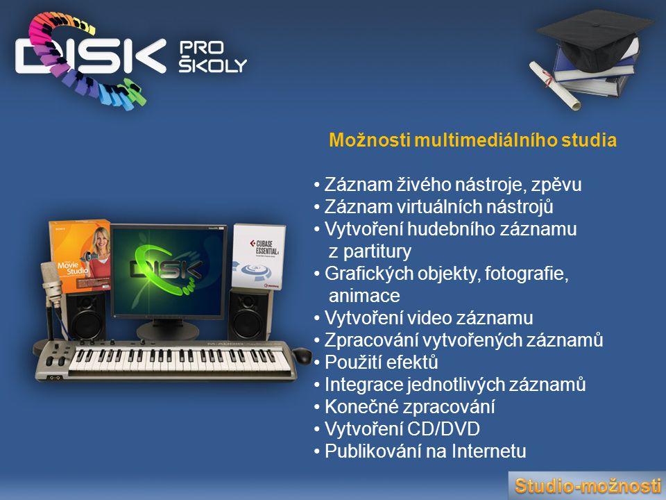 Možnosti multimediálního studia • Záznam živého nástroje, zpěvu • Záznam virtuálních nástrojů • Vytvoření hudebního záznamu z partitury • Grafických o