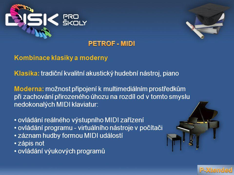 Kombinace klasiky a moderny Klasika: tradiční kvalitní akustický hudební nástroj, piano Moderna: možnost připojení k multimediálním prostředkům při za