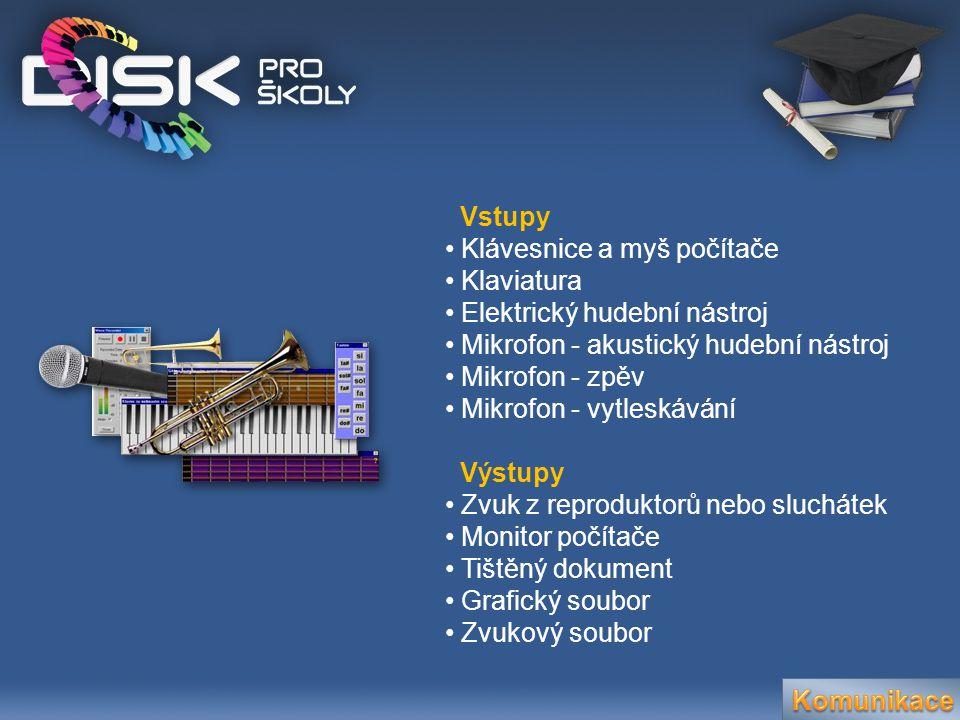 Vstupy • Klávesnice a myš počítače • Klaviatura • Elektrický hudební nástroj • Mikrofon - akustický hudební nástroj • Mikrofon - zpěv • Mikrofon - vyt