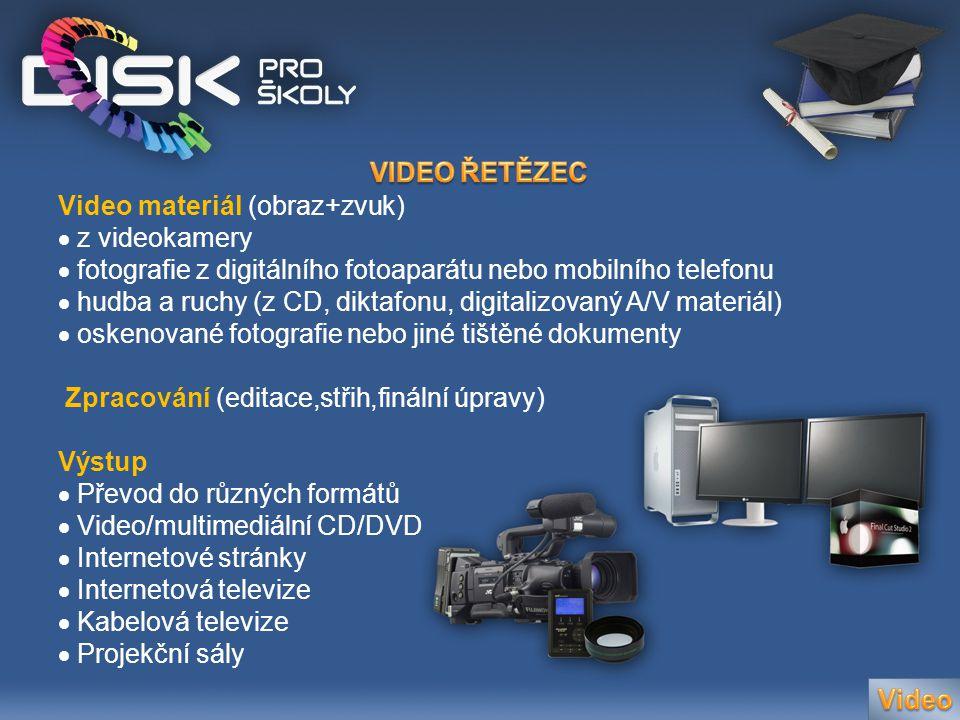 Video materiál (obraz+zvuk)  z videokamery  fotografie z digitálního fotoaparátu nebo mobilního telefonu  hudba a ruchy (z CD, diktafonu, digitaliz