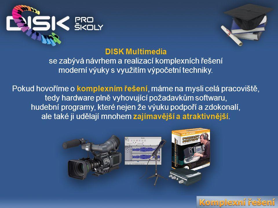 DISK Multimedia se zabývá návrhem a realizací komplexních řešení moderní výuky s využitím výpočetní techniky. Pokud hovoříme o komplexním řešení, máme
