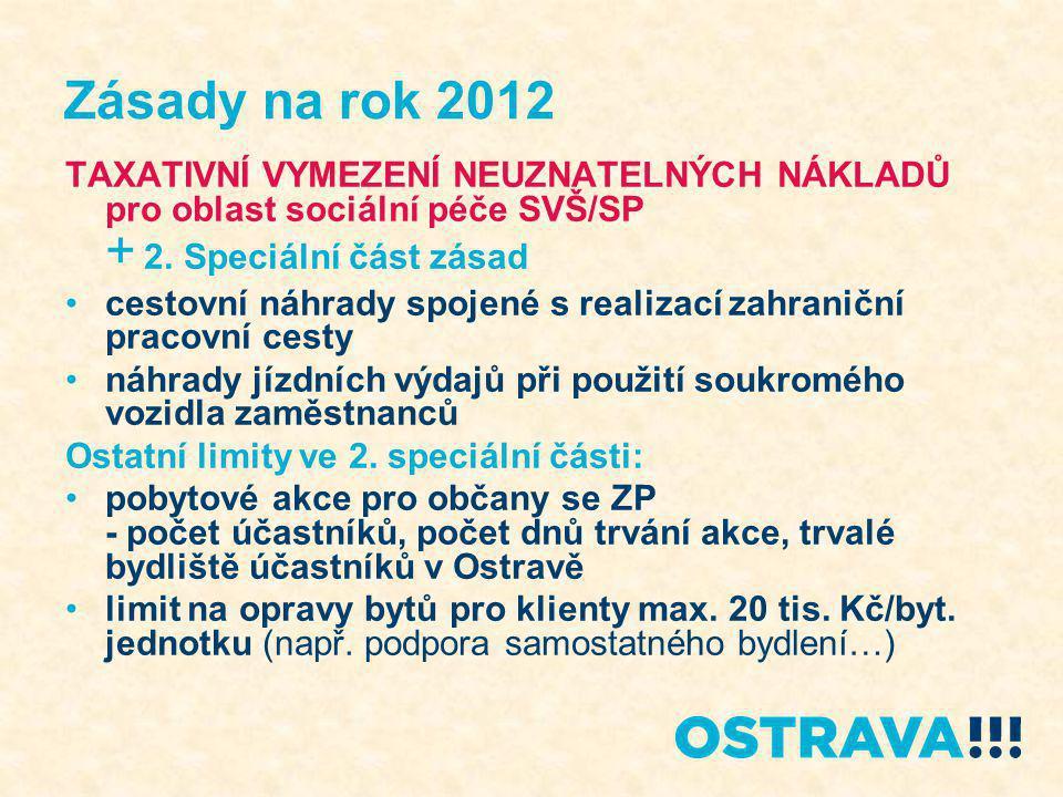 Zásady na rok 2012 TAXATIVNÍ VYMEZENÍ NEUZNATELNÝCH NÁKLADŮ pro oblast sociální péče SVŠ/SP + 2.