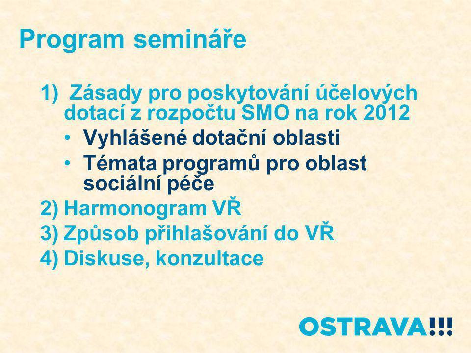Zásady pro poskytování účelových dotací z rozpočtu SMO na rok 2012 •Zásady schváleny zastupitelstvem 14.9.2011 www.ostrava.cz •Platný 3.