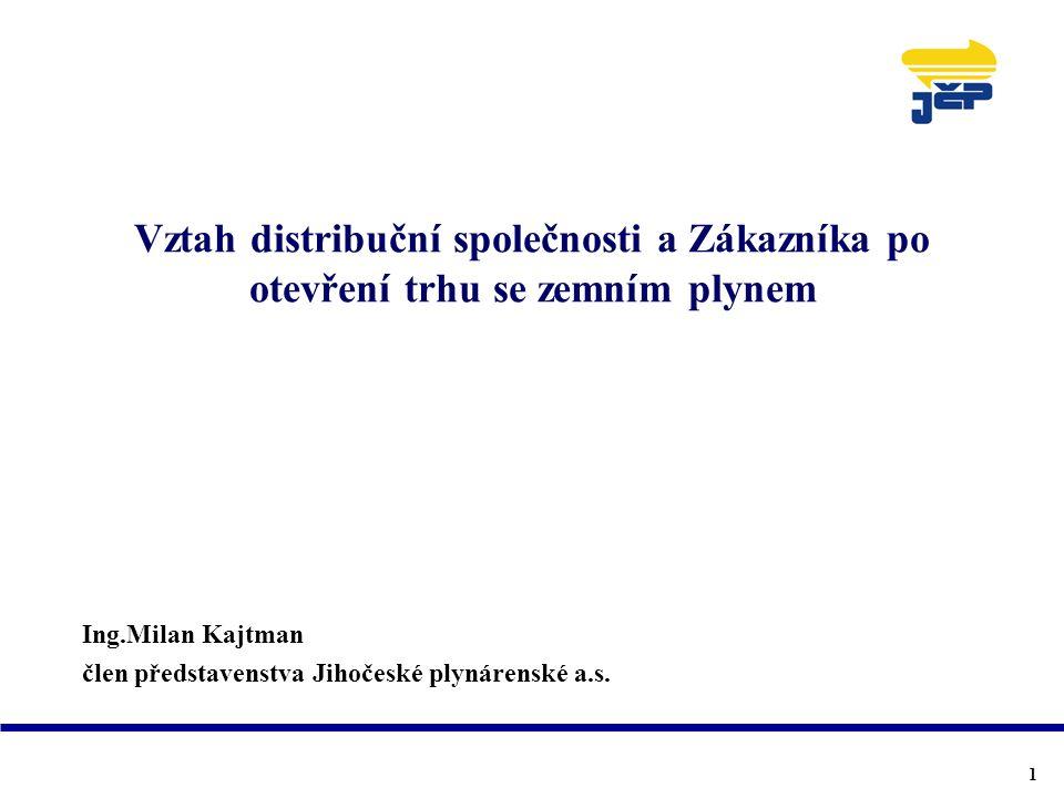 Vztah distribuční společnosti a Zákazníka po otevření trhu se zemním plynem Ing.Milan Kajtman člen představenstva Jihočeské plynárenské a.s. 1