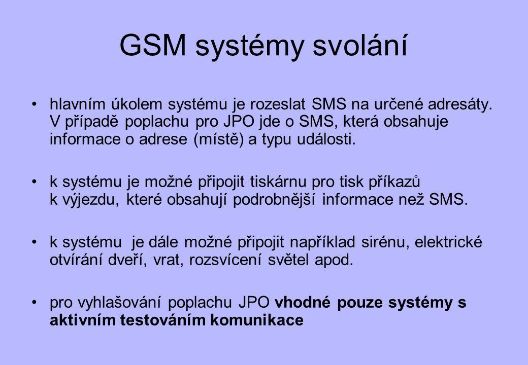 GSM systémy svolání •hlavním úkolem systému je rozeslat SMS na určené adresáty. V případě poplachu pro JPO jde o SMS, která obsahuje informace o adres