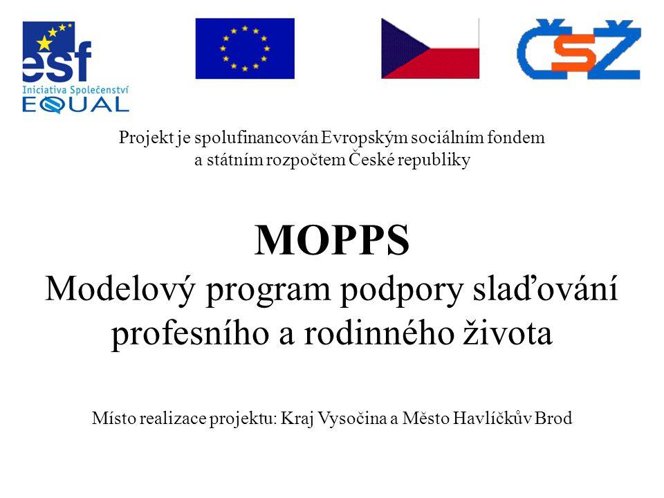 Projekt je spolufinancován Evropským sociálním fondem a státním rozpočtem České republiky MOPPS Modelový program podpory slaďování profesního a rodinného života Místo realizace projektu: Kraj Vysočina a Město Havlíčkův Brod