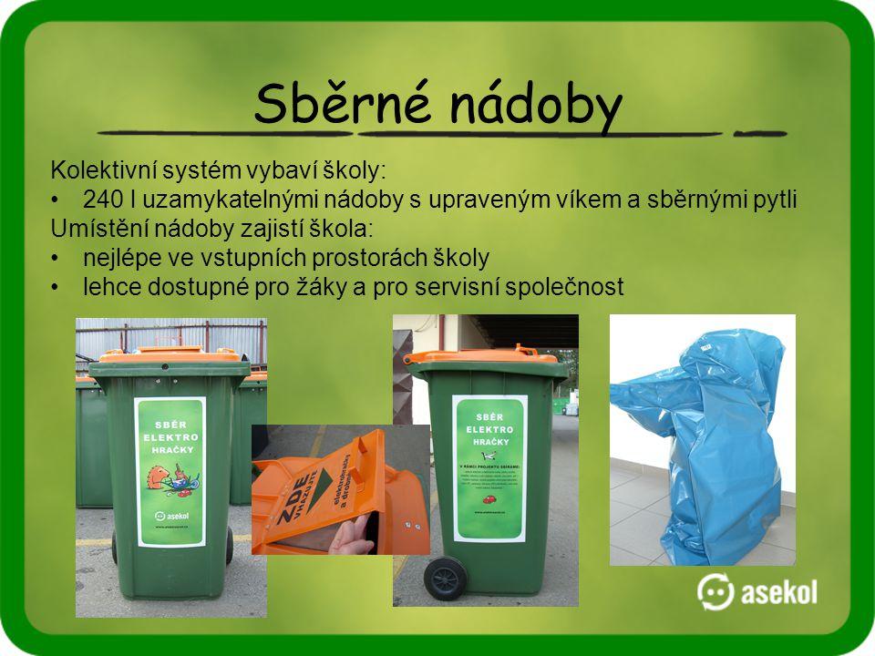 Sběrné nádoby Kolektivní systém vybaví školy: •240 l uzamykatelnými nádoby s upraveným víkem a sběrnými pytli Umístění nádoby zajistí škola: •nejlépe