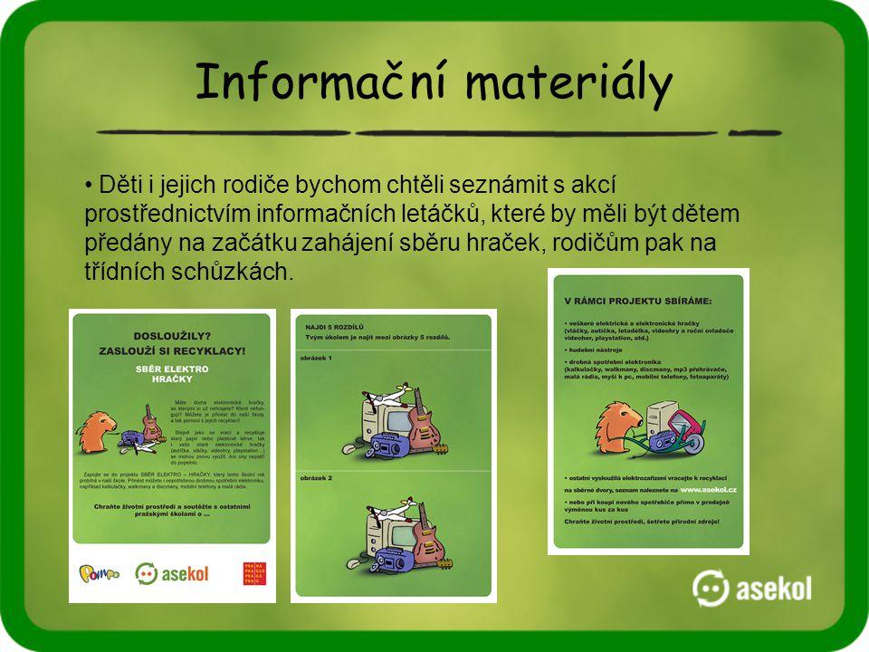 Informační materiály • Děti i jejich rodiče bychom chtěli seznámit s akcí prostřednictvím informačních letáčků, které by měli být dětem předány na začátku zahájení sběru hraček, rodičům pak na třídních schůzkách.