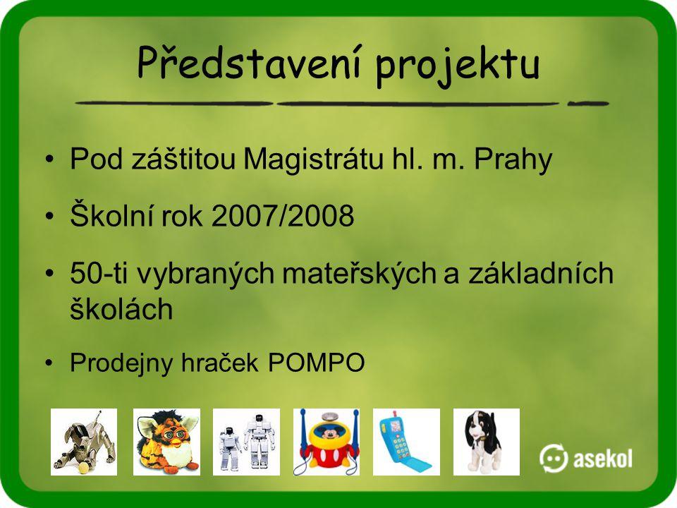 Představení projektu •Pod záštitou Magistrátu hl. m. Prahy •Školní rok 2007/2008 •50-ti vybraných mateřských a základních školách •Prodejny hraček POM