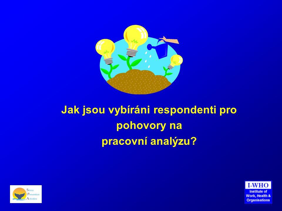 Jak jsou vybíráni respondenti pro pohovory na pracovní analýzu?