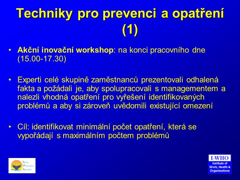 Techniky pro prevenci a opatření (1) •Akční inovační workshop: na konci pracovního dne (15.00-17.30) •Experti celé skupině zaměstnanců prezentovali od