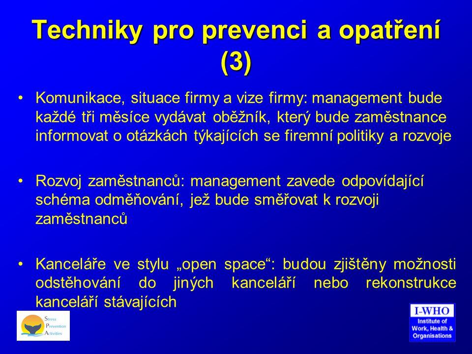 Techniky pro prevenci a opatření (3) •Komunikace, situace firmy a vize firmy: management bude každé tři měsíce vydávat oběžník, který bude zaměstnance