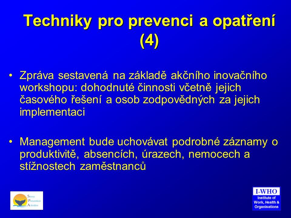 Techniky pro prevenci a opatření (4) •Zpráva sestavená na základě akčního inovačního workshopu: dohodnuté činnosti včetně jejich časového řešení a oso