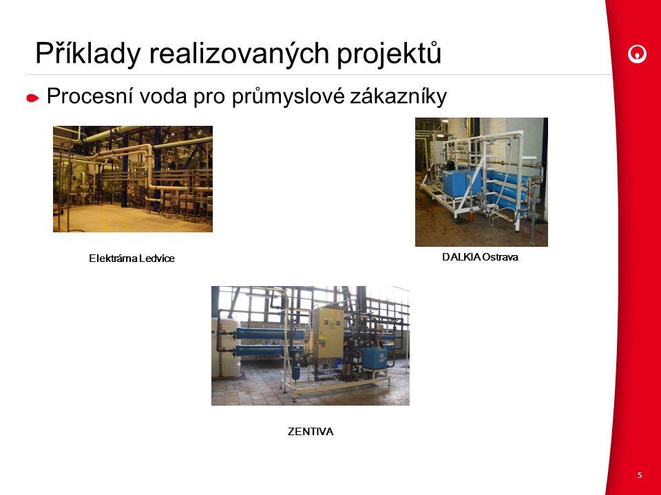 Příklady realizovaných projektů 5 Elektrárna Ledvice DALKIA Ostrava ZENTIVA Procesní voda pro průmyslové zákazníky