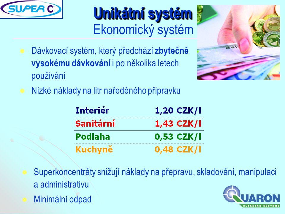   Dávkovací systém, který předchází zbytečně vysokému dávkování i po několika letech používání   Nízké náklady na litr naředěného přípravku Unikát