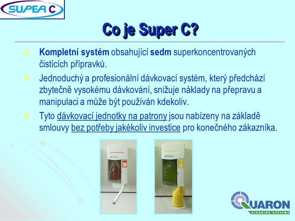   Kompletní systém obsahující sedm superkoncentrovaných čistících přípravků.   Jednoduchý a profesionální dávkovací systém, který předchází zbyteč