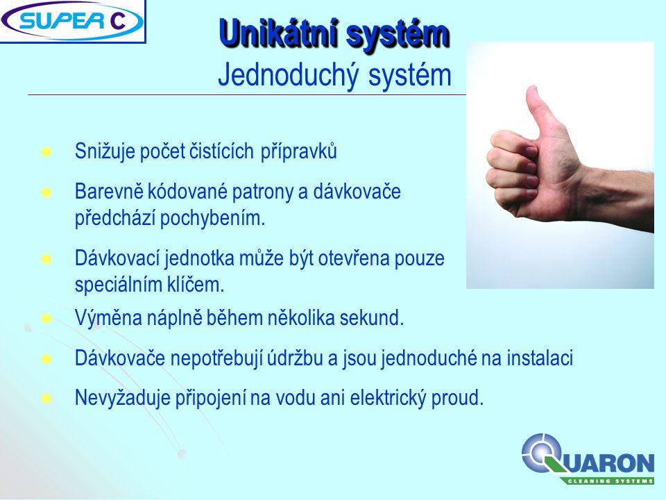 Unikátní systém Jednoduchý systém   Snižuje počet čistících přípravků   Barevně kódované patrony a dávkovače předchází pochybením.   Dávkovací j