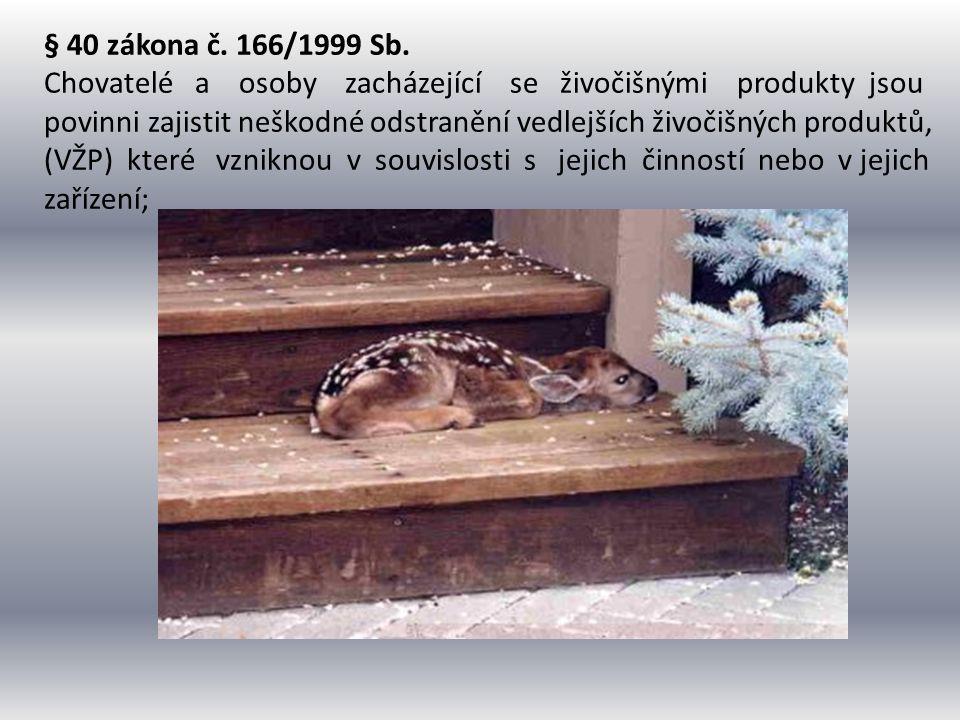 § 40 zákona č. 166/1999 Sb. Chovatelé a osoby zacházející se živočišnými produkty jsou povinni zajistit neškodné odstranění vedlejších živočišných pro