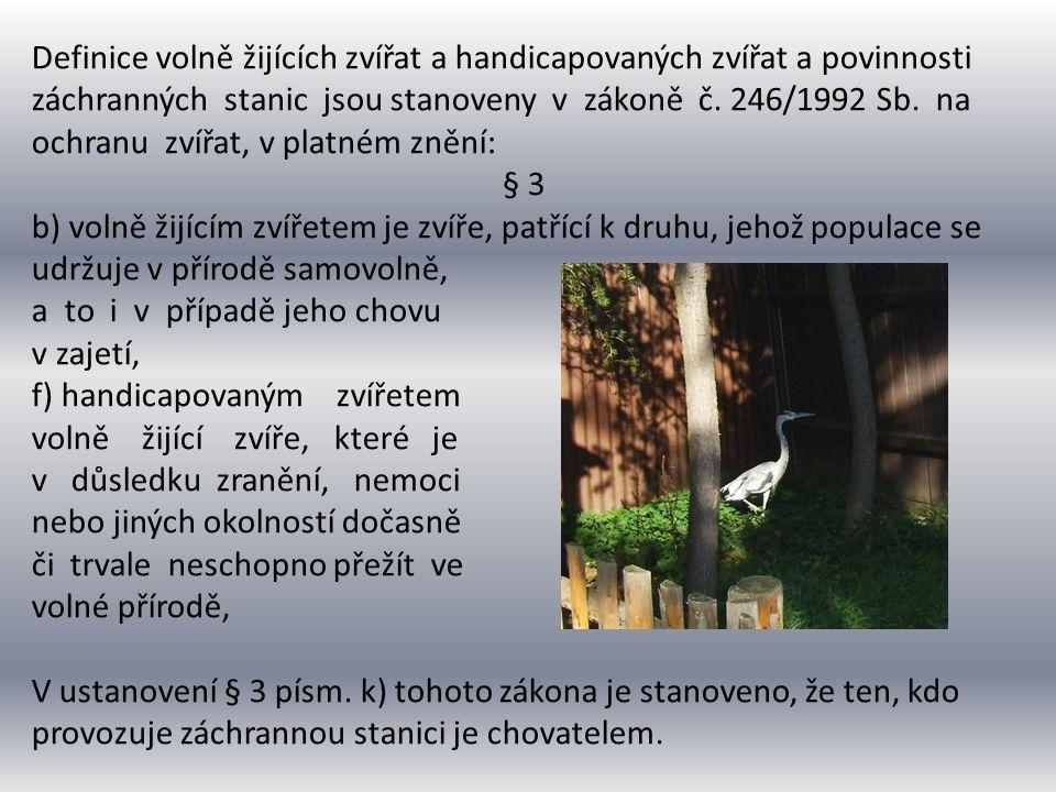 Ochranou handicapovaných zvířat se zabývá § 14b zákona č.