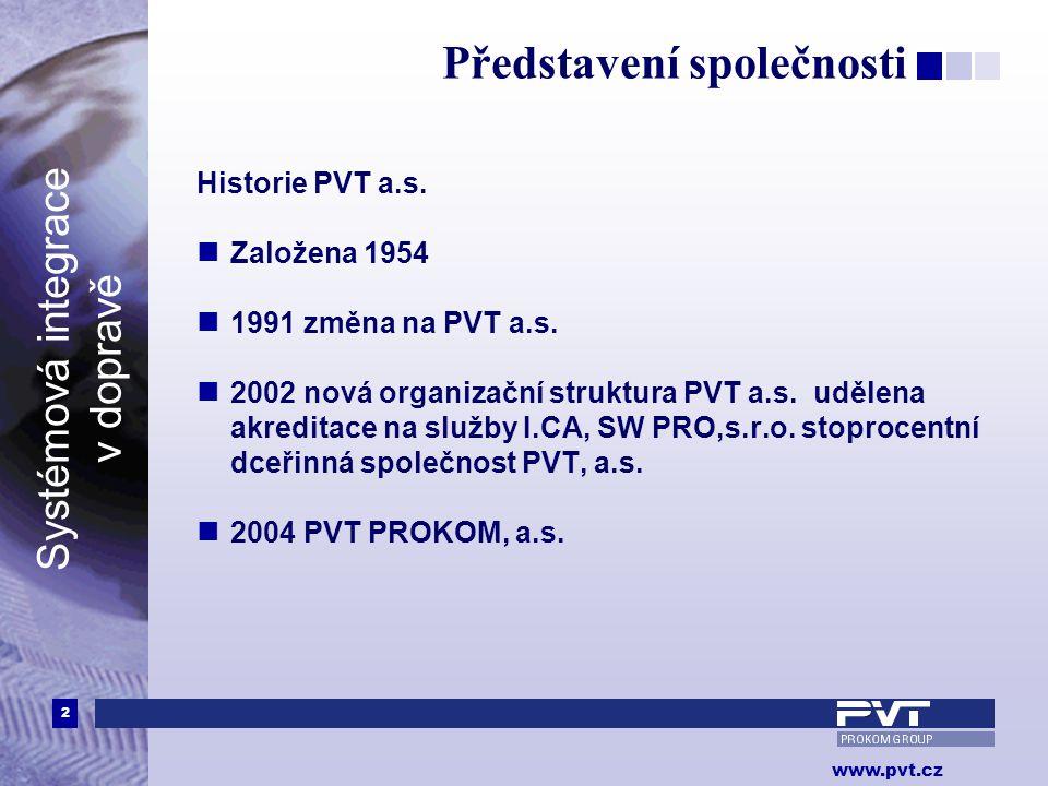 2 www.pvt.cz Systémová integrace v dopravě Představení společnosti Historie PVT a.s.  Založena 1954  1991 změna na PVT a.s.  2002 nová organizační