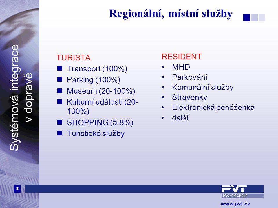 8 www.pvt.cz Systémová integrace v dopravě Regionální, místní služby TURISTA  Transport (100%)  Parking (100%)  Museum (20-100%)  Kulturní událost