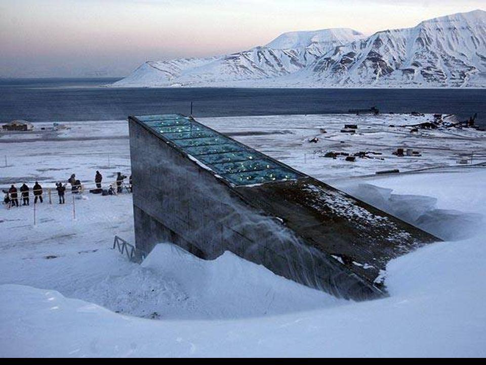 La entrada de la bóveda tiene un diseño futurista con unos espejos metálicos que reflejan el sol durante el día y brillan en la oscuridad por la noche, concebido por la artista noruega Dyveke Sanne.