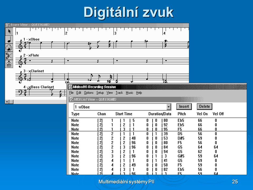 Multimediální systémy PII 25 Digitální zvuk