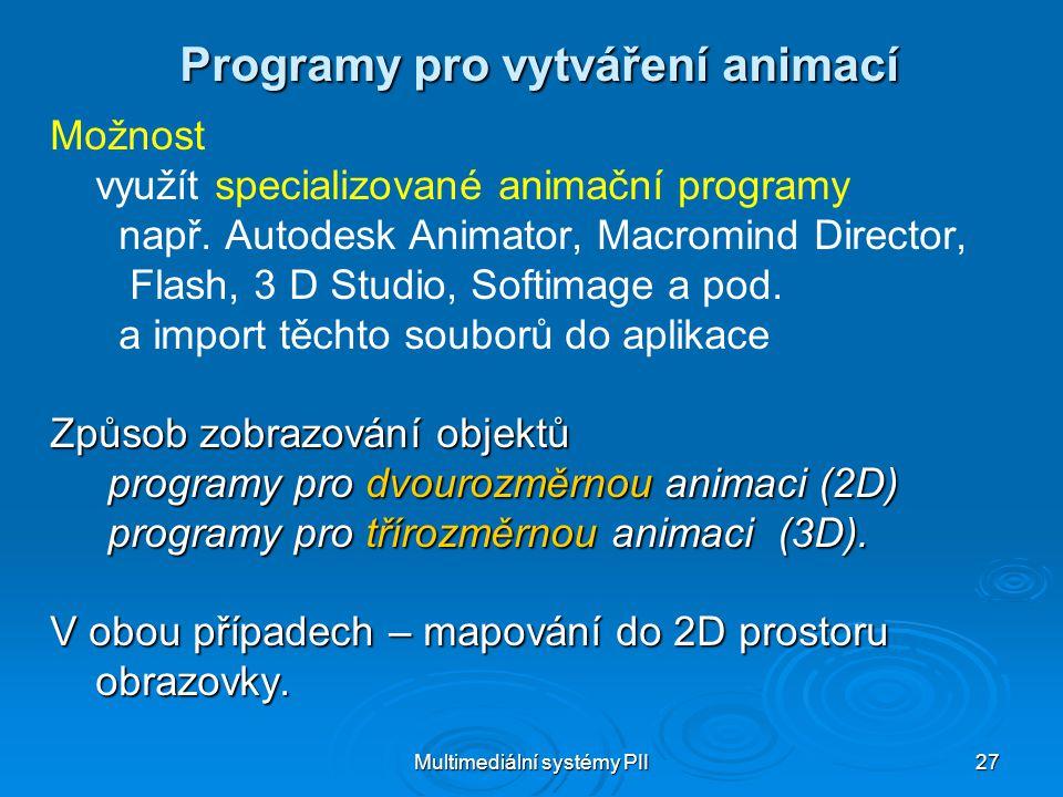 Multimediální systémy PII 27 Programy pro vytváření animací Možnost využít specializované animační programy např.