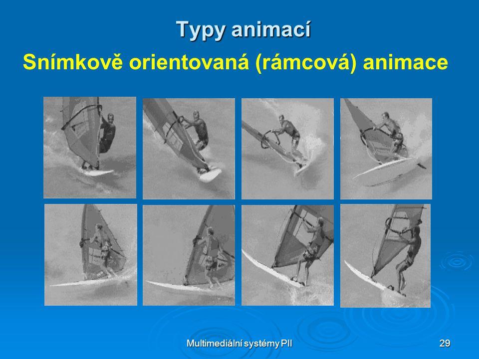 Multimediální systémy PII 29 Typy animací Snímkově orientovaná (rámcová) animace