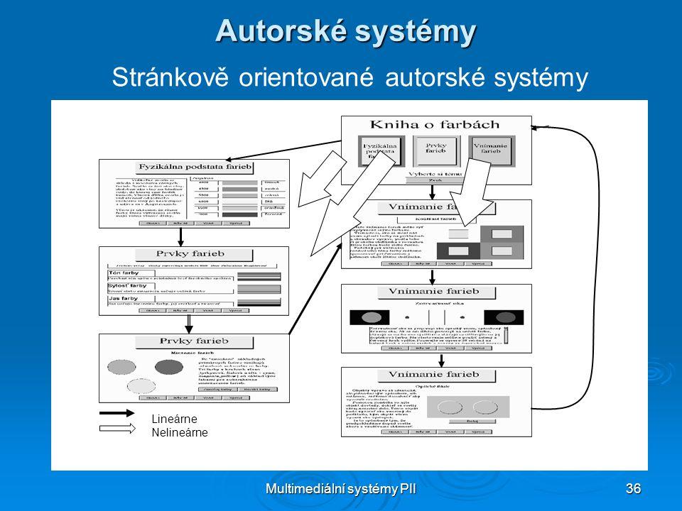 Multimediální systémy PII 36 Autorské systémy Stránkově orientované autorské systémy Lineárne Nelineárne