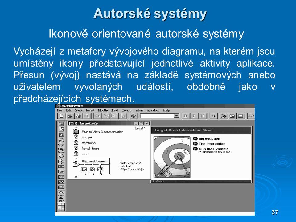 Multimediální systémy PII 37 Autorské systémy Ikonově orientované autorské systémy Vycházejí z metafory vývojového diagramu, na kterém jsou umístěny ikony představující jednotlivé aktivity aplikace.