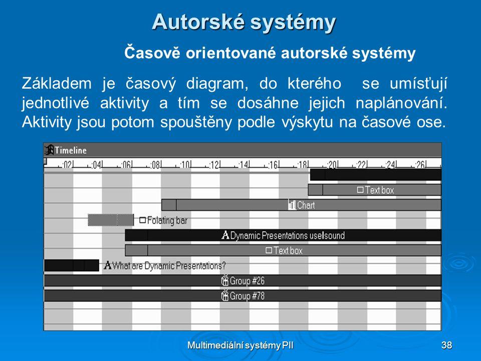 Multimediální systémy PII 38 Autorské systémy Časově orientované autorské systémy Základem je časový diagram, do kterého se umísťují jednotlivé aktivity a tím se dosáhne jejich naplánování.