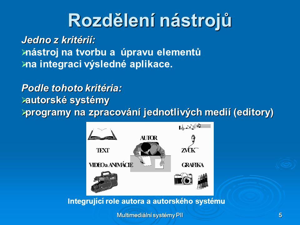Multimediální systémy PII 5 Rozdělení nástrojů Jedno z kritérií:   nástroj na tvorbu a úpravu elementů   na integraci výsledné aplikace.
