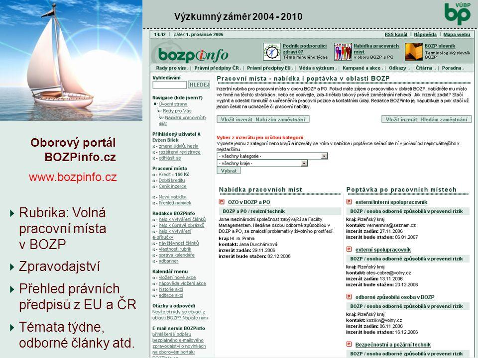 Výzkumný záměr 2004 - 2010 Kontrolní den prosinec 2006  Zpravodajství  Přehled právních předpisů z EU a ČR  Témata týdne, odborné články atd. Oboro