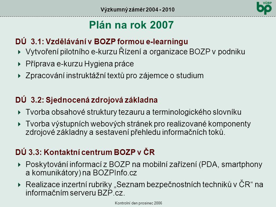 Výzkumný záměr 2004 - 2010 Kontrolní den prosinec 2006 Plán na rok 2007 DÚ 3.1: Vzdělávání v BOZP formou e-learningu  Vytvoření pilotního e-kurzu Řízení a organizace BOZP v podniku  Příprava e-kurzu Hygiena práce  Zpracování instruktážní textů pro zájemce o studium DÚ 3.2: Sjednocená zdrojová základna  Tvorba obsahové struktury tezauru a terminologického slovníku  Tvorba výstupních webových stránek pro realizované komponenty zdrojové základny a sestavení přehledu informačních toků.