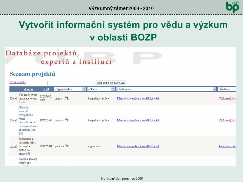 Výzkumný záměr 2004 - 2010 Kontrolní den prosinec 2006 Vytvořit informační systém pro vědu a výzkum v oblasti BOZP