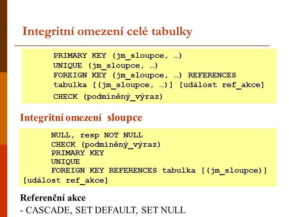 Integritní omezení celé tabulky PRIMARY KEY (jm_sloupce, …) UNIQUE (jm_sloupce, …) FOREIGN KEY (jm_sloupce, …) REFERENCES tabulka [(jm_sloupce, …)] [u
