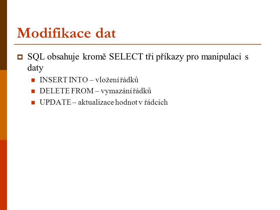 Modifikace dat  SQL obsahuje kromě SELECT tři příkazy pro manipulaci s daty  INSERT INTO – vložení řádků  DELETE FROM – vymazání řádků  UPDATE – a