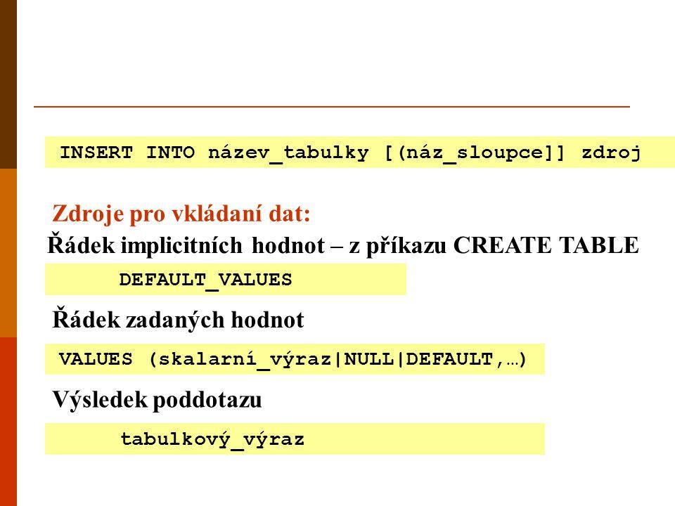 INSERT INTO název_tabulky [(náz_sloupce]] zdroj Zdroje pro vkládaní dat: Řádek implicitních hodnot – z příkazu CREATE TABLE Řádek zadaných hodnot DEFA