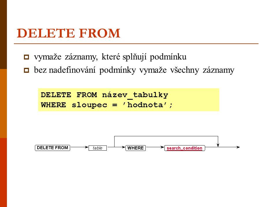 DELETE FROM  vymaže záznamy, které splňují podmínku  bez nadefinování podmínky vymaže všechny záznamy DELETE FROM název_tabulky WHERE sloupec = 'hod
