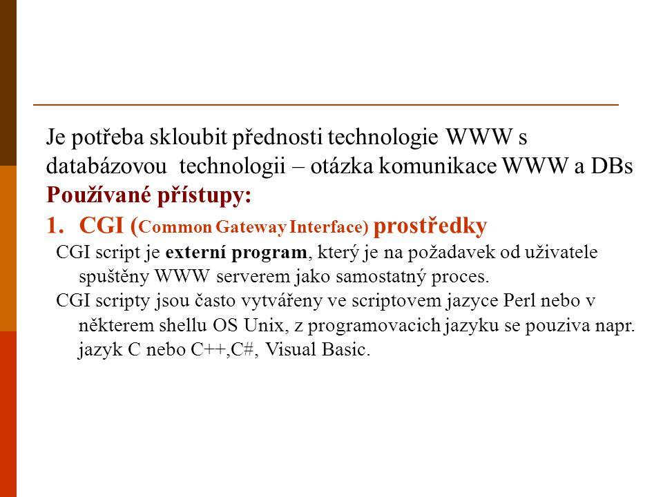 Je potřeba skloubit přednosti technologie WWW s databázovou technologii – otázka komunikace WWW a DBs Používané přístupy: 1.CGI ( Common Gateway Inter