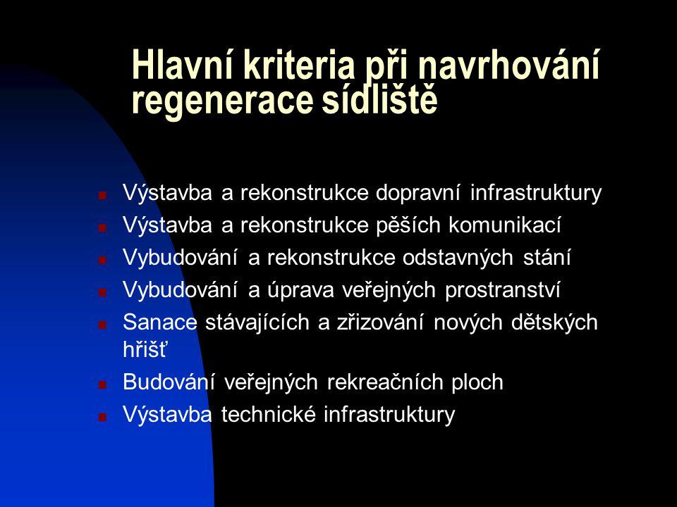 Hlavní kriteria při navrhování regenerace sídliště  Výstavba a rekonstrukce dopravní infrastruktury  Výstavba a rekonstrukce pěších komunikací  Vyb