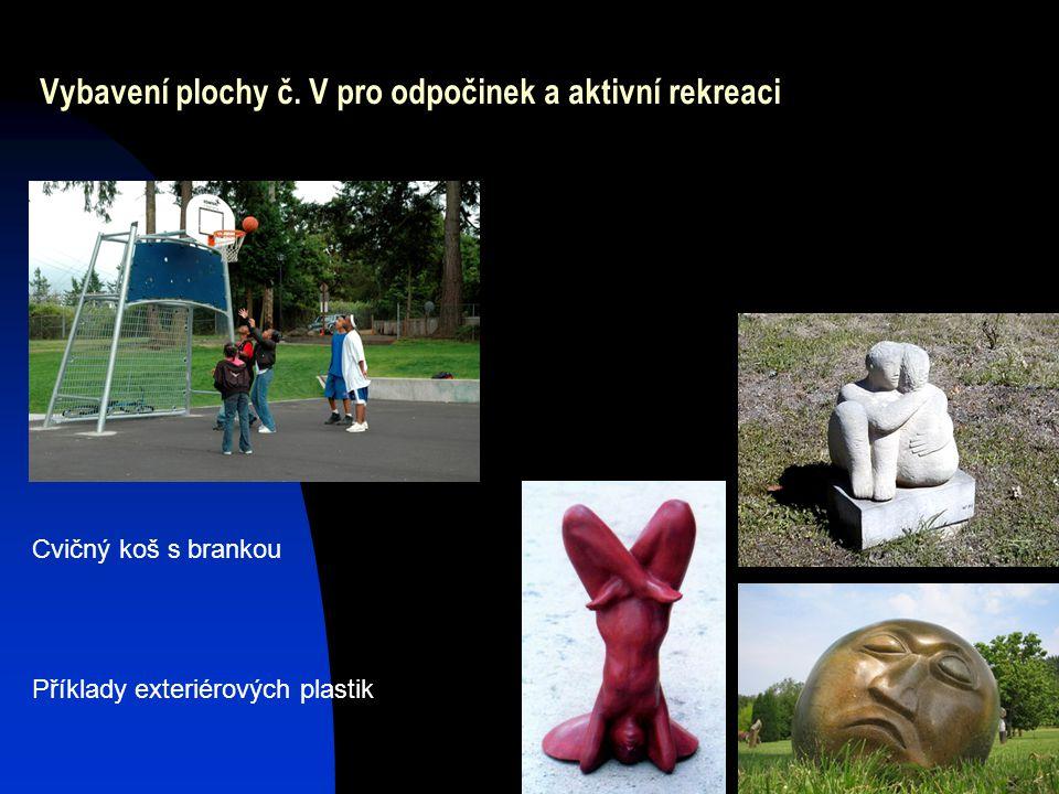 Vybavení plochy č. V pro odpočinek a aktivní rekreaci Cvičný koš s brankou Příklady exteriérových plastik
