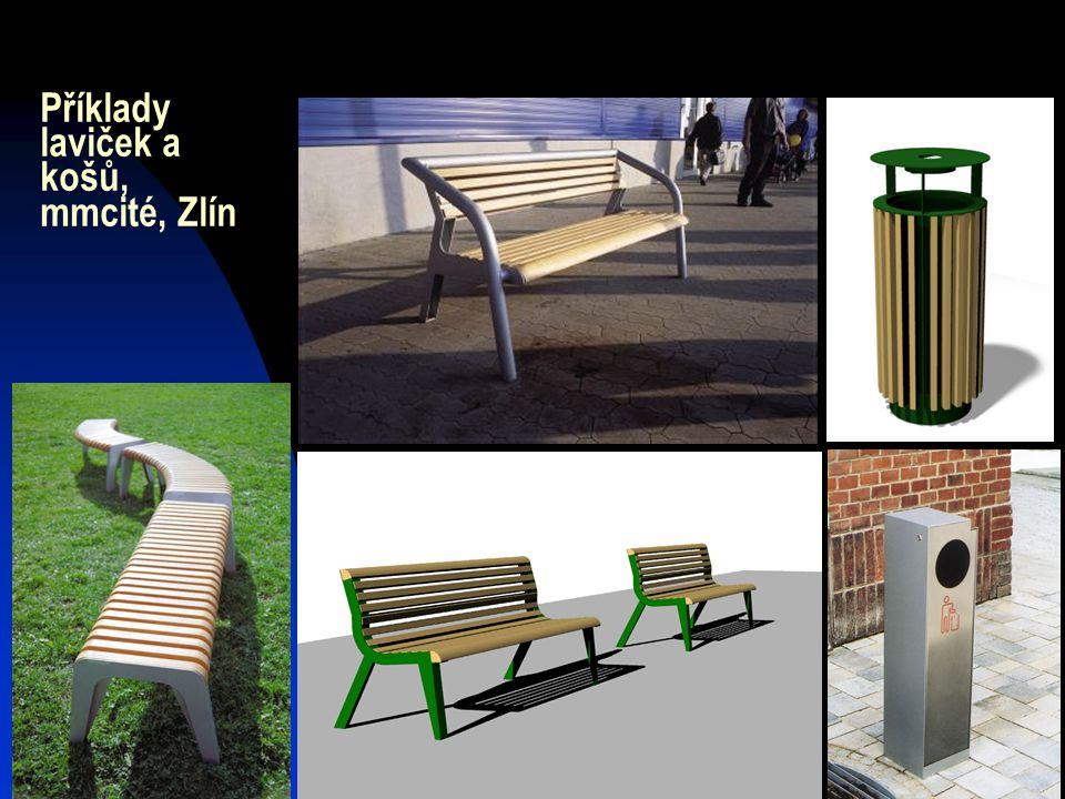 Příklady laviček a košů, mmcité, Zlín