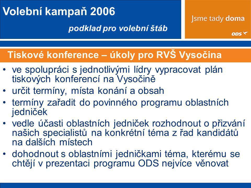 Volební kampaň 2006 podklad pro volební štáb Tiskové konference – úkoly pro RVŠ Vysočina •ve spolupráci s jednotlivými lídry vypracovat plán tiskových konferencí na Vysočině •určit termíny, místa konání a obsah •termíny zařadit do povinného programu oblastních jedniček •vedle účasti oblastních jedniček rozhodnout o přizvání našich specialistů na konkrétní téma z řad kandidátů na dalších místech •dohodnout s oblastními jedničkami téma, kterému se chtějí v prezentaci programu ODS nejvíce věnovat