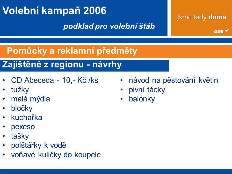 Volební kampaň 2006 podklad pro volební štáb Pomůcky a reklamní předměty •CD Abeceda - 10,- Kč /ks •tužky •malá mýdla •bločky •kuchařka •pexeso •tašky •polštářky k vodě •voňavé kuličky do koupele Zajištěné z regionu - návrhy •návod na pěstování květin •pivní tácky •balónky