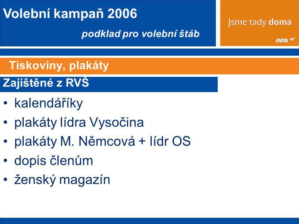 Volební kampaň 2006 podklad pro volební štáb Tiskoviny, plakáty •kalendáříky •plakáty lídra Vysočina •plakáty M.