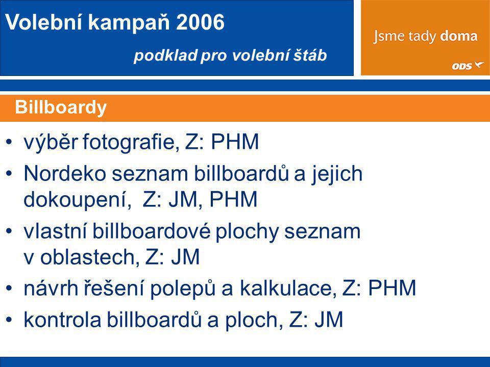 Volební kampaň 2006 podklad pro volební štáb Billboardy •výběr fotografie, Z: PHM •Nordeko seznam billboardů a jejich dokoupení, Z: JM, PHM •vlastní billboardové plochy seznam v oblastech, Z: JM •návrh řešení polepů a kalkulace, Z: PHM •kontrola billboardů a ploch, Z: JM