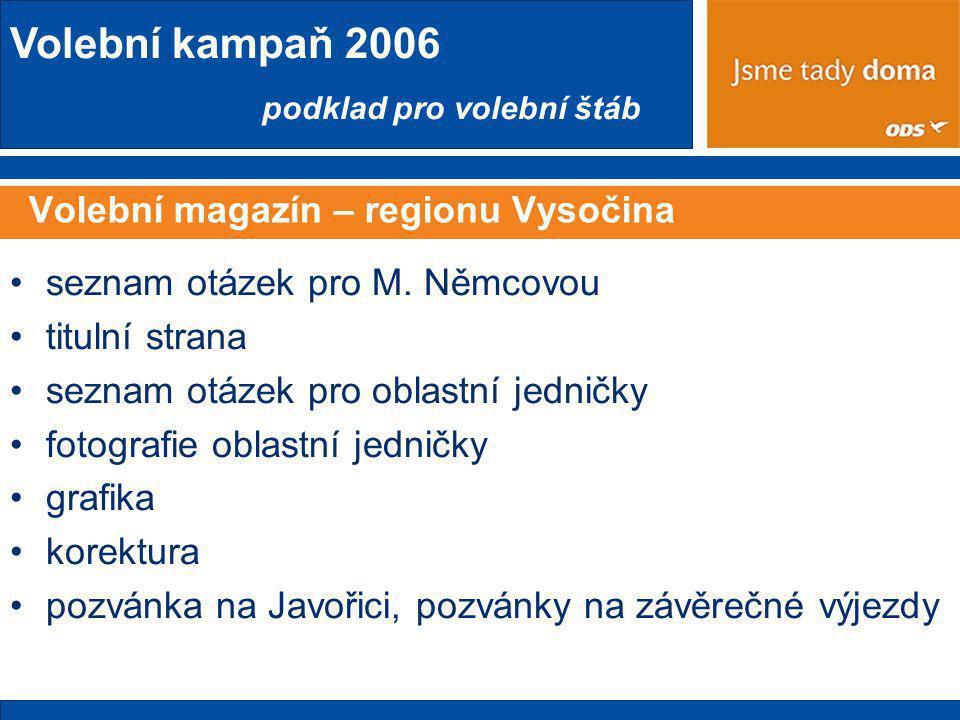 Volební kampaň 2006 podklad pro volební štáb Volební magazín – regionu Vysočina •seznam otázek pro M.