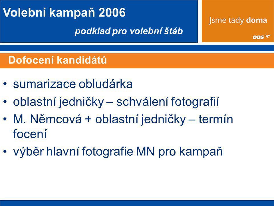 Volební kampaň 2006 podklad pro volební štáb Dofocení kandidátů •sumarizace obludárka •oblastní jedničky – schválení fotografií •M.